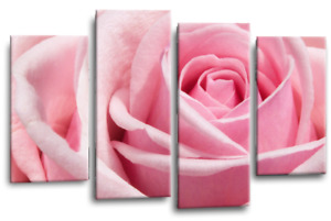 Floral Pink Rose Wall Art Grey Split Canvas Flower Picture