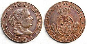 Falsa de epoca. Isabel II. 2 1/2 centimos de escudo 1866. Barcelona. 6,3 g.