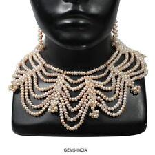 1040 Ct Natural Freshwater Peach Pearl Beaded Princess Bridal Wedding Jewelry Se