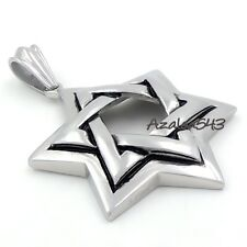 Men's Large Heavy Jewish Symbol Star of David Stainless Steel Pendant Necklace