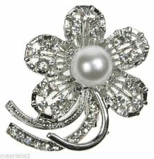 Flowers/Plants Pearl Costume Brooches & Pins