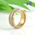 3 colors Size 8-10 Unisex CZ Stainless Steel Ring Men/Women's Wedding Band