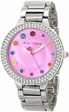 NEW BETSEY JOHNSON WOMEN'S WATCH BJ00074-17 IN STAINLESS STEEL & PINK DIAL