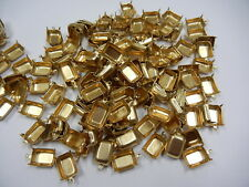 36 1-loop octagon 4-prong settings for 14x10mm #4600(4610)high polished brass