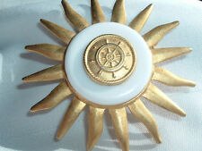 Vintage Goldtone Nautical Sun Brooch Pin In Gift Box
