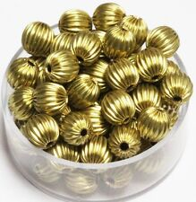 7 MM Solid Brass Round Corrugated Hollow Beads  Pkg. 50 p.  , USA