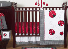 Red Black White Lady Bug Designer Bumperless Baby Girl Crib Bedding Quilt Set