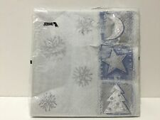 NWT Stewo Blue and Silver Winter Christmas Luncheon Napkins, pkg of 20