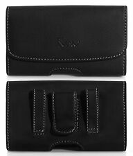XL Size Leather Horizontal Belt Holster Carry Pouch Case for LG Optimus Zone 3