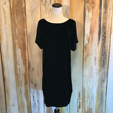 7 For All Mankind Studded Diamond Shift Dress Black Velvet Cocktail M $225 NWT!