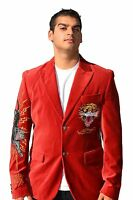 """Ed Hardy Men's Velvet jacket """"Tiger""""full Embroidery in the back 100% authentic"""