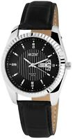Herrenuhr Schwarz Silber Analog Leder Strass Datum Tag Armbanduhr X-2900010-002