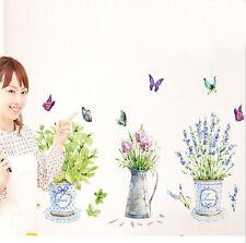 Home Kitchen Cottage Floral & Garden Decor Potted Flower Pot Decal Wall Sticker