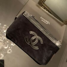 Coco Chanel Black Velvet Cosmetics Makeup Pencil Bag Case Pouch