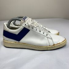 Vintage Pony Sneakers White Blue Leather Low Top Sneakers Taiwan 1986 Men's 7.5
