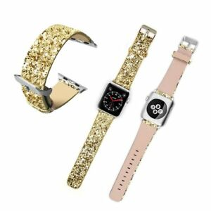 For Apple Watch Band iWatch Leather Glitter Wrist Strap Bling Watch SE 40mm 44mm