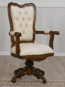 Executive office swivel chair Kimberly English style walnut faux leather champag