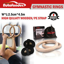 Wooden Gymnastic Olympic Rings Crossfit Gym Fitness Strength Training BS 600kg