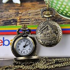 New Vintage Bronze Train Retro Pocket Watch Quartz Necklace Pendant Gift EFFU