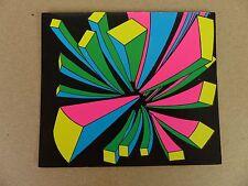 Vintage Geometric Rectangles Psychedelic Card Post Card Flourescent Black Lite