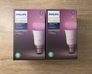 2 X Philips Hue B22 Colour Ambiance Smart Light Bulb *New & Sealed*