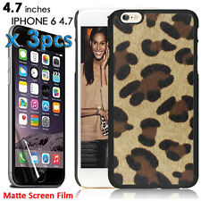 For iPhone 6 6S Case- HARD RUBBERIZED GUMMY COVER BROWN LEOPARD CHEETAH + Films