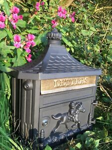 Wall Hanging Postbox Cast Aluminium Pony Express (Black Colour, with Gold Flap)