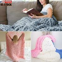 Luxury Wool Chunky Knitted Thick Blanket Hands Bulky Knit Throw Sofa Bed Cover