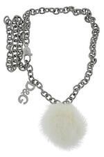 "Dolce & Gabbana Jewels DJ0299 Women's Gun Metal & Soft Fur Bauble Necklace 14"""