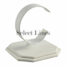 White Faux Leather Watch Bracelet Jewelry Display Stand