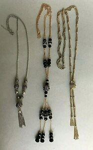 3 x VINTAGE very LONG DANGLE DROP NECKLACES FLAPPER STYE fancy dress glass beads