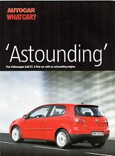 Volkswagen Golf 1.4 TSi GT Mk5 2006 UK Market Launch Drives Brochure Autocar