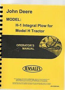 John Deere H-1 Plow Owners Operators Manual DIR340A