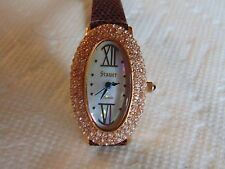 Stauer Jardin 25mm Oval 2 ctw Diamondaura® Diamonds 18K Rose Gold Fused SS Watch