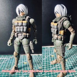 "Premium Painted 1/18 Female Head Sculpt Soldier Head For 3.75"" Acid Rain Figure"