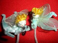Vintage 2 Spun Cotton Head Angels  - Aqua Blue Made in Japan