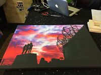 """Manchester United Mufc Manchester Is Red ' Holy Trinity ' Canvas Print (26""""x18"""")"""