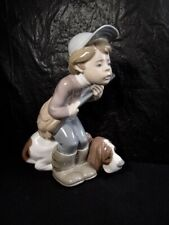 "Beautiful Lladro ""The Hunter "" Boy Figure With Hound Dog - Scarce Piece"