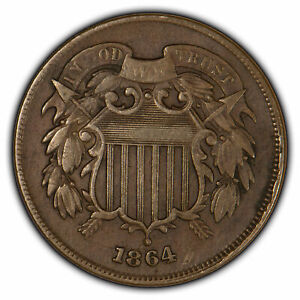 1864 2c Two-Cent Piece - VF+ Coin - SKU-Z1436