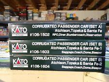 N Scale Kato Santa Fe Corrugated Passeger Cars 3 4 car sets ( New )