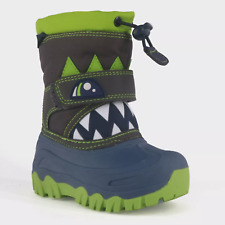 Cat & Jack Toddler Boys' Size 4 Bernardo Monster Navy Green Winter Snow Boots