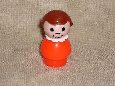 Fisher Price Little People Vintage School Girl Sister Brown Hair in Orange-Red