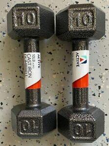 💪 NEW💪 Active 10 LB Cast Iron HEX Dumbbells - Weights: 20 LB Set / Pair 🔥