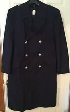 RARE VINTAGE 9 German Navy Officer long BLUE TRENCH COAT LINER EXTRA FEIN goth