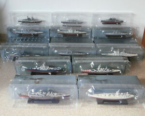 13 x Boxed Atlas Editions Warships: Exeter, Roma, Lutzow, Kirishima, Vanguard...
