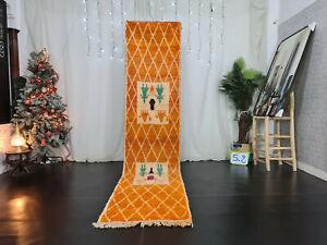 """Boujaad Handmade Moroccan Runner Rug 2'4""""x11' Berber Geometric Orange Wool Rug"""