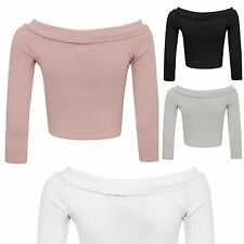 Boat Neck Unbranded Cropped Classic Tops & Shirts for Women