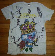 3052s NWOT White XL ED HARDY Christian Audigier Skull Designer T-Shirt!