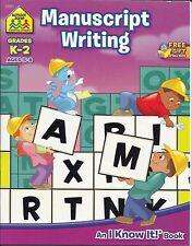 School Zone Workbook Manuscript Writing Grades K-2 Ages 5-8  New