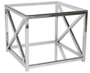 Beistelltisch Metall Chrom Glas 60x60x50 cm Glastisch Couchtisch Sofatisch